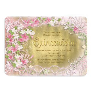 Pink and Gold Foil Floral Quinceañera Card