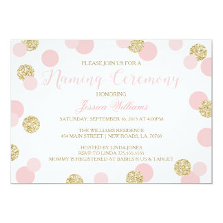 Pink and Gold Glitter Naming Ceremony Invites