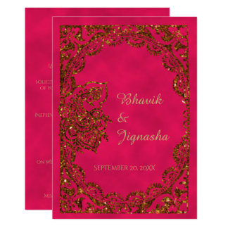 Pink and Gold Peacock Indian Wedding Invitation