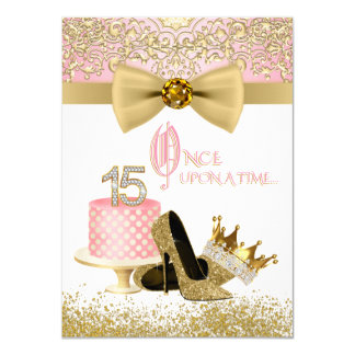 Pink and Gold Quinceanera Birthday Party Card