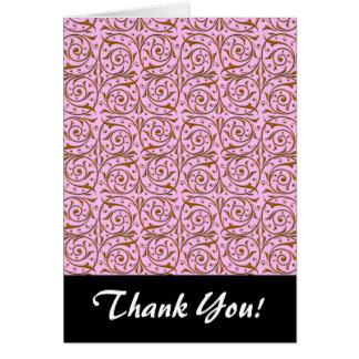 Pink and Gold Swirly Vine Pattern Card