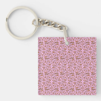 Pink and Gold Swirly Vine Pattern Key Ring