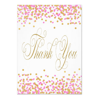 Pink and Gold Thank You Cards