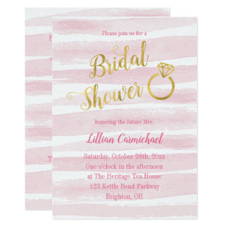 Pink and Gold Watercolor Stripes Bridal Shower Card