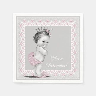 Pink and Gray Baby Shower Paper Napkins