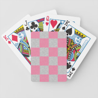 Pink and Gray Checkered Playing Cards