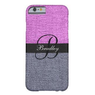 Pink and Gray Elegant Monogram Barely There iPhone 6 Case