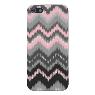 Pink and Gray Ikat Chevron Case For iPhone 5/5S