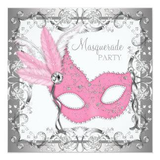 Pink and Gray Masquerade Party Card