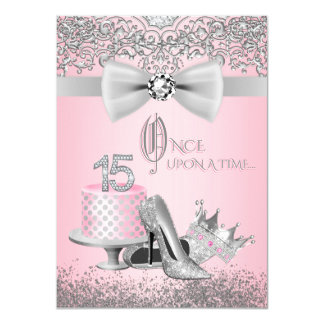 Pink and Gray Quinceanera 11 Cm X 16 Cm Invitation Card
