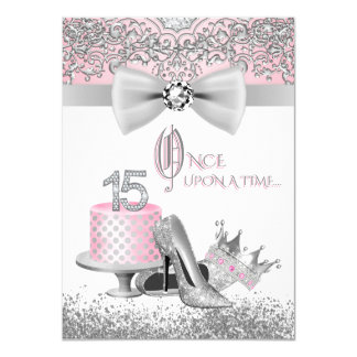 Pink and Gray Quinceanera Birthday Party Card