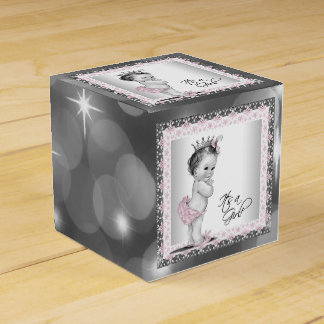 Pink and Gray Vintage Princess Baby Shower Favour Box