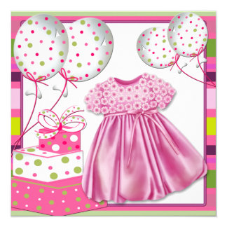 Pink and Green Baby Shower Card
