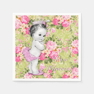Pink and Green Baby Shower Disposable Serviettes