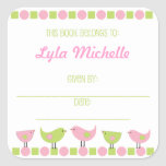 Pink and Green Birds Girl Book Plate bookplates Square Stickers