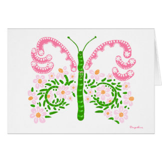 pink and green butterfly thank you card