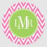 Pink and Green Chevrons Monogram