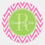 Pink and Green Chevrons Monogram Round Stickers