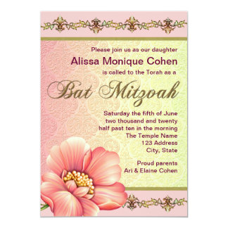 Pink and Green Floral Bat Mitzvah Card