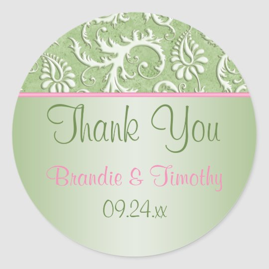 """Pink and Green Floral Damask 1.5"""" Round Sticker"""