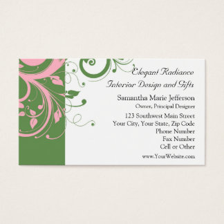 Pink and Green Floral Swirl Wedding Business Card