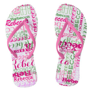 Pink and Green Fun Name Collage Allover Print Jandals