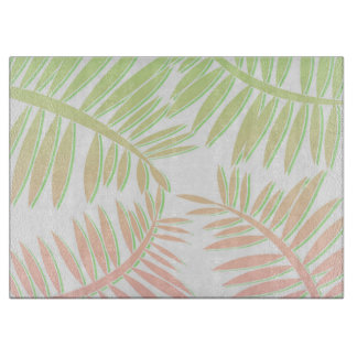 Pink and Green Gradient Palm Tree Leaves Cutting Board