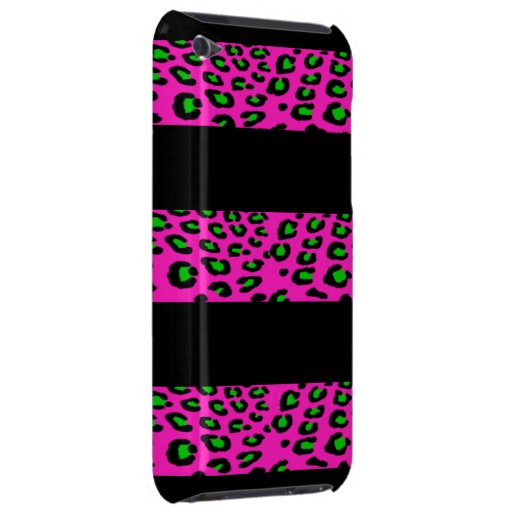 Pink and Green Leopard Stripes Barely There iPod Cases
