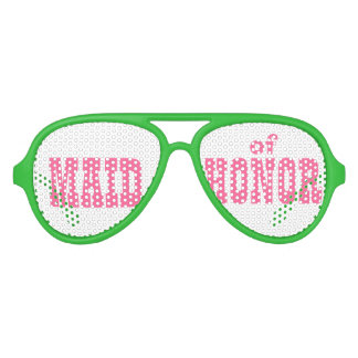 Pink and Green Maid of Honor Swag Party Glasses