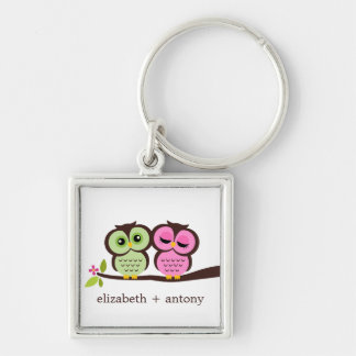 Pink and Green Owl Couple Silver-Colored Square Key Ring