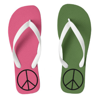 Pink and Green Peace Sign Mismatch Flip Flops Thongs