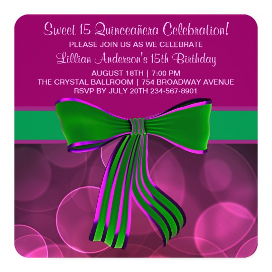 Pink and Green Quinceanera 13 Cm X 13 Cm Square Invitation Card