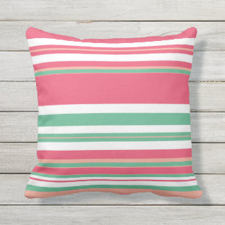 Pink and Green Stripes Outdoor Cushion