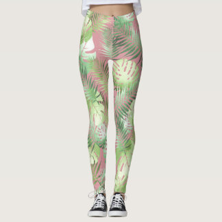 Pink and green tropical leggings