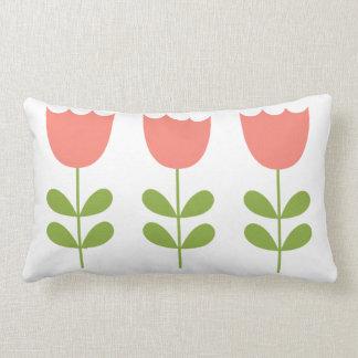 Pink and Green Tulips Nursery Lumbar Cushion