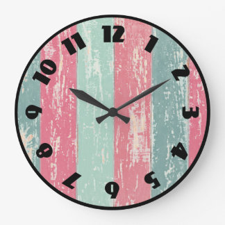 Pink and Green Wooden Fence Grunge Texture Large Clock