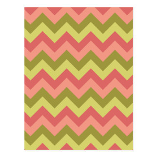 Pink and Green Zig Zag Postcard