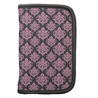 Pink and grey damask elegant mini folio folio planners