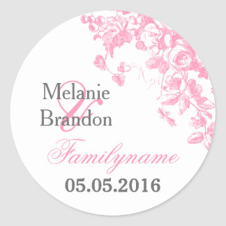 Pink and grey floral wedding stickers