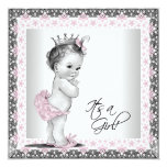 Pink and Grey Vintage Baby Girl Shower Personalized Announcements