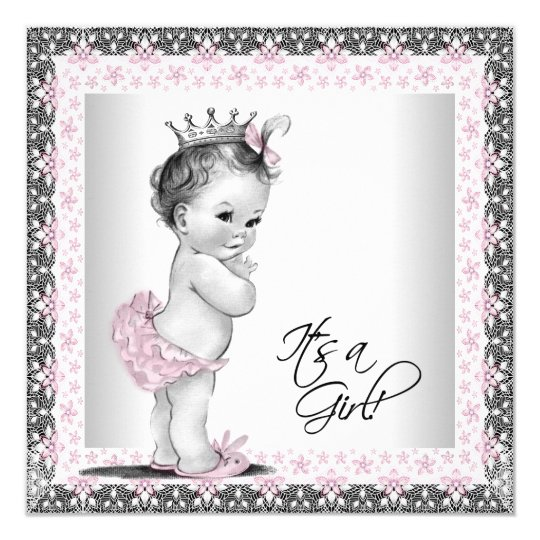 Pink And Grey Vintage Baby Girl Shower Invitation Zazzle Co Nz