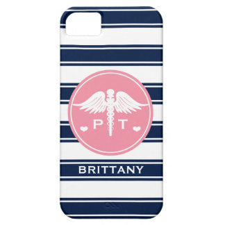 PINK AND NAVY STRIPE PHYSICAL THERAPY PT iPhone 5 CASES