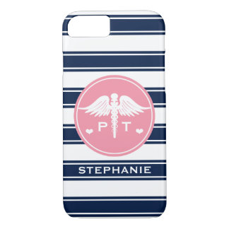 PINK AND NAVY STRIPE PHYSICAL THERAPY PT iPhone 8/7 CASE