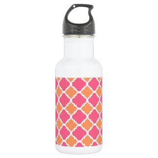 Pink and Orange Argyle Diamond Tile Pattern 532 Ml Water Bottle