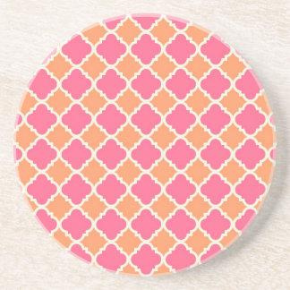 Pink and Orange Argyle Diamond Tile Pattern Gifts Coaster