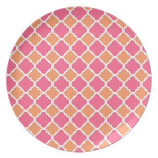 Pink and Orange Argyle Diamond Tile Pattern Gifts Plate