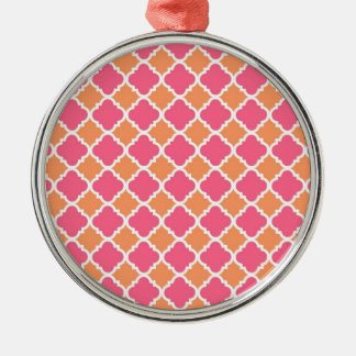 Pink and Orange Argyle Diamond Tile Pattern Gifts Silver-Colored Round Decoration