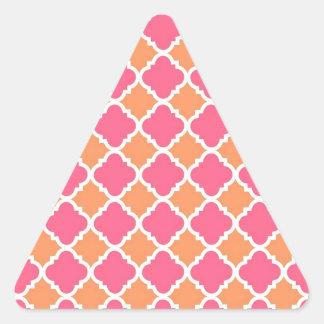 Pink and Orange Argyle Diamond Tile Pattern Gifts Triangle Sticker