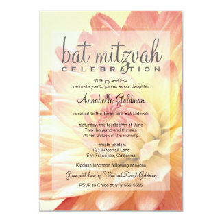 Pink and Orange Bat Mitzvah Invitation