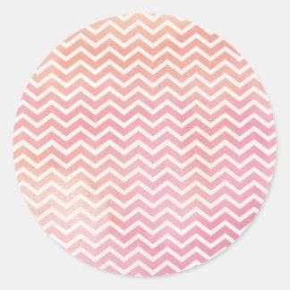 Pink and Orange Chevron Background Round Sticker
